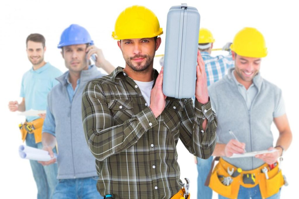 A Picture Of Workers Wearing Hard Hats And Carrying Tools For Delaware County Roofing