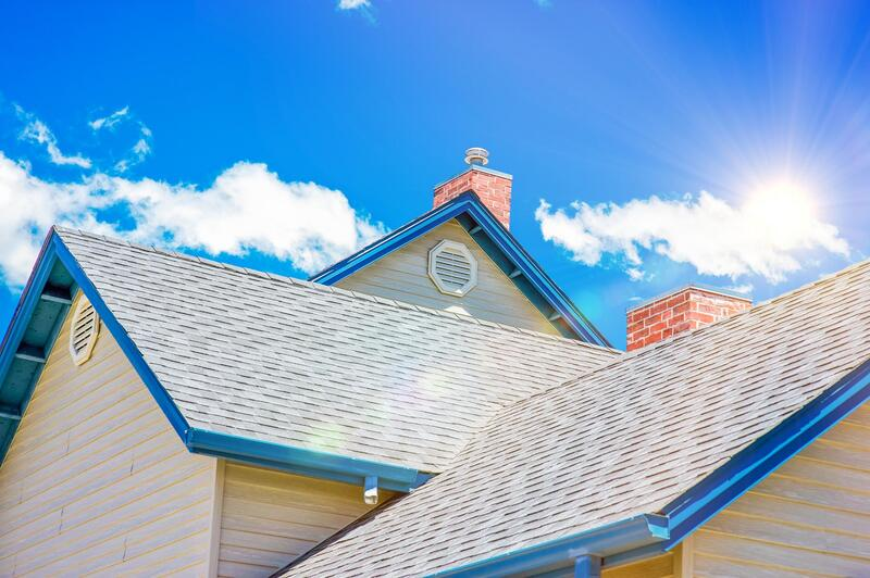 Brand New Roof With Nice Blue Sky Back round And Blue Soffit Picture Was Taking By Delaware County Roofers